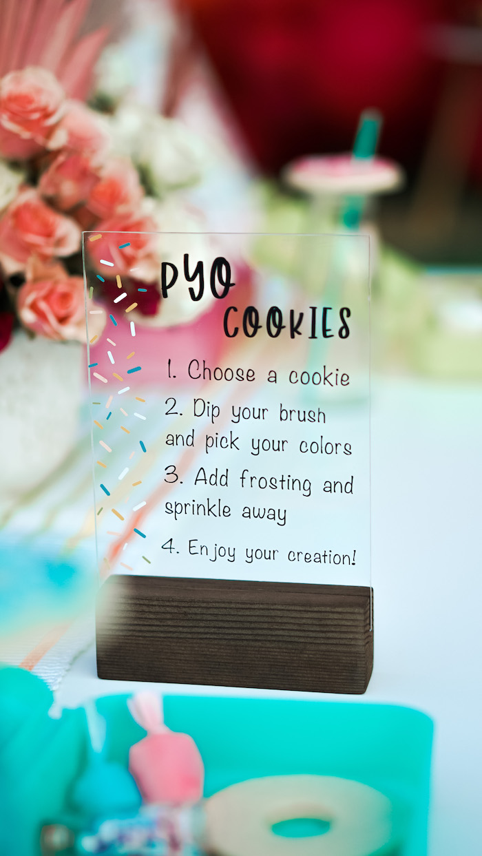 Acrylic Cookie Decorating Sign from an Art & Donuts Crafting Party on Kara's Party Ideas | KarasPartyIdeas.com (18)