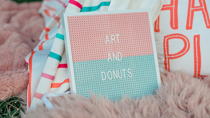 Two-toned Letter Board Sign from an Art & Donuts Crafting Party on Kara's Party Ideas | KarasPartyIdeas.com (8)