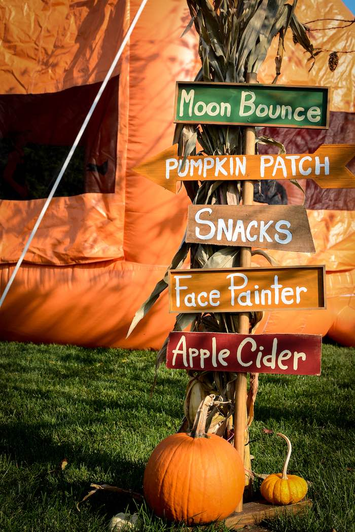 Fall-inspired Directional Sign from a Backyard Fall Festival Party on Kara's Party Ideas | KarasPartyIdeas.com (18)