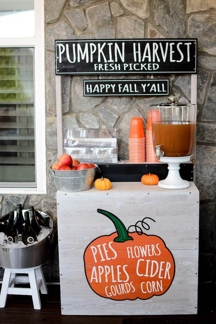 Fall-inspired Beverage Table from a Backyard Fall Festival Party on Kara's Party Ideas | KarasPartyIdeas.com (29)
