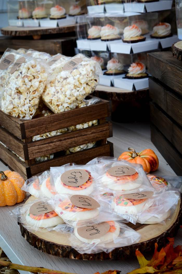 Cookies + Popcorn on a Snack Table at a Backyard Fall Festival Party on Kara's Party Ideas | KarasPartyIdeas.com (9)