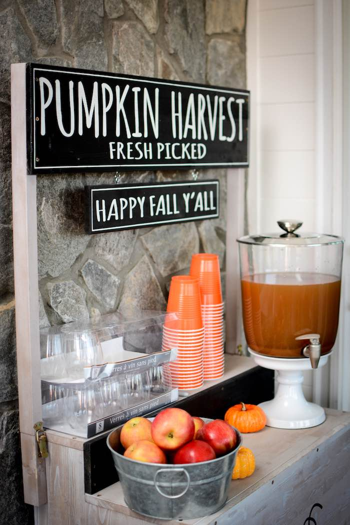Fall-inspired Beverage Table from a Backyard Fall Festival Party on Kara's Party Ideas | KarasPartyIdeas.com (28)