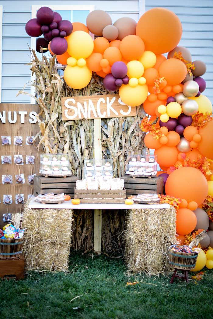 Snack Table from a Backyard Fall Festival Party on Kara's Party Ideas | KarasPartyIdeas.com (26)