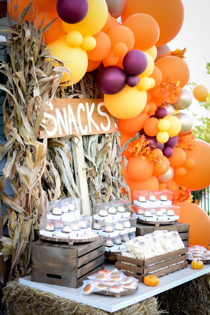 Snack Table from a Backyard Fall Festival Party on Kara's Party Ideas | KarasPartyIdeas.com (25)