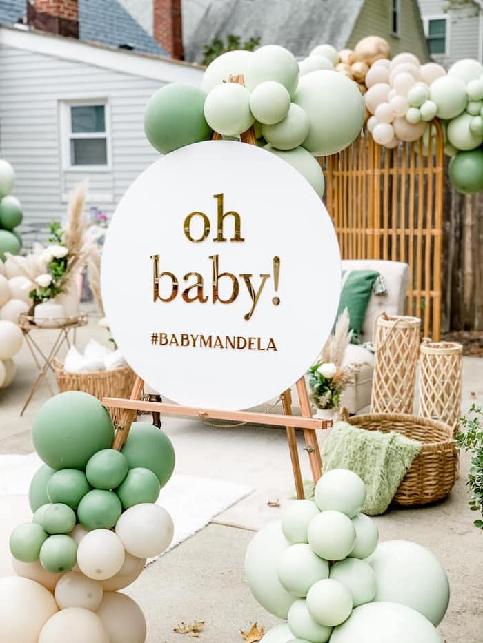 """""""oh baby"""" Sign from a Boho Drive-by Baby Shower on Kara's Party Ideas 