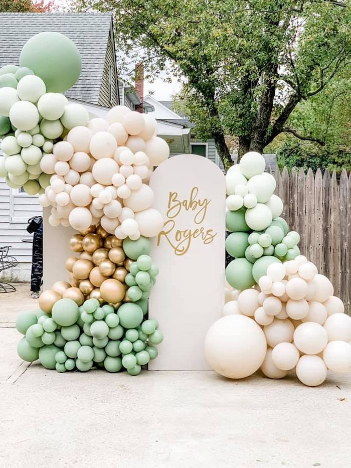 Balloon Panel Wall from a Boho Drive-by Baby Shower on Kara's Party Ideas | KarasPartyIdeas.com (15)
