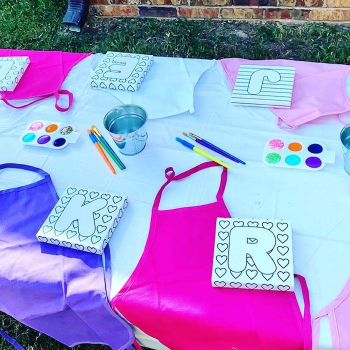 Art Table from a Boho Rainbow Art Party on Kara's Party Ideas | KarasPartyIdeas.com (11)