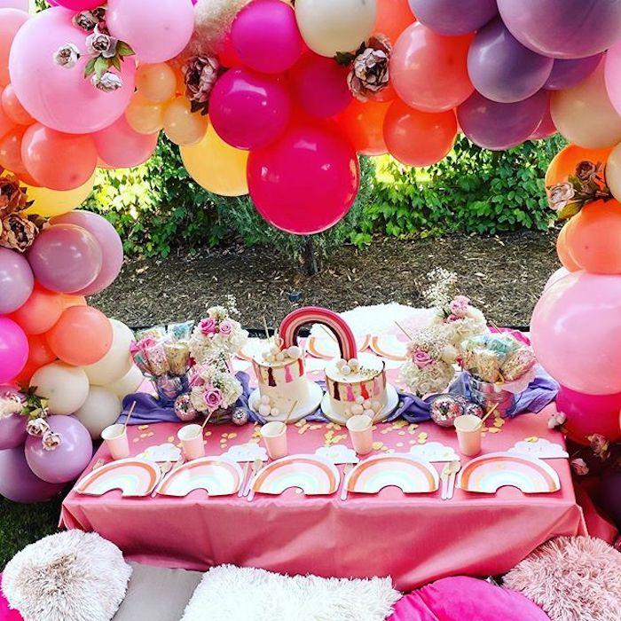 Rainbow Kid Table from a Boho Rainbow Art Party on Kara's Party Ideas | KarasPartyIdeas.com (8)