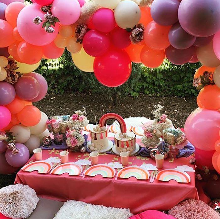 Rainbow Kid Table from a Boho Rainbow Art Party on Kara's Party Ideas | KarasPartyIdeas.com (7)