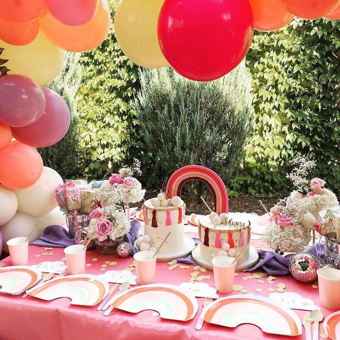 Rainbow Kid Table from a Boho Rainbow Art Party on Kara's Party Ideas | KarasPartyIdeas.com (5)