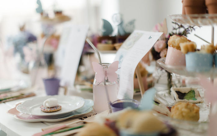 Table Setting from a Butterfly Tea and Crafting Party on Kara's Party Ideas | KarasPartyIdeas.com (29)
