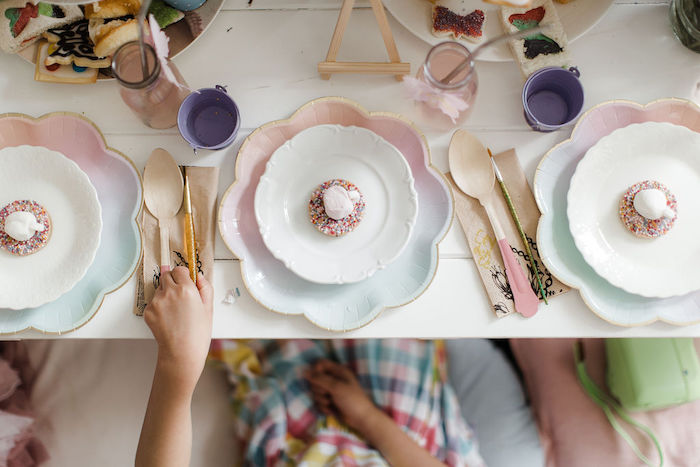 Table Setting from a Butterfly Tea and Crafting Party on Kara's Party Ideas | KarasPartyIdeas.com (9)