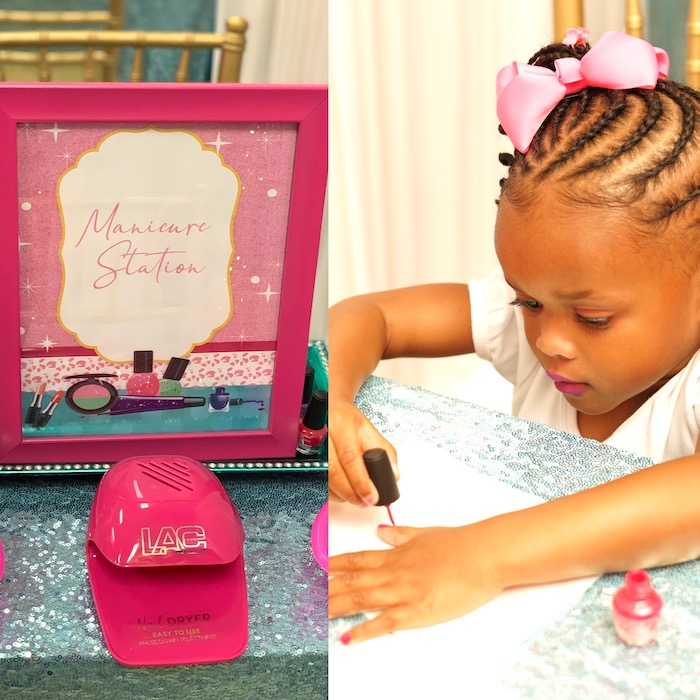 Manicure Station from a Diva Spa Party on Kara's Party Ideas | KarasPartyIdeas.com (5)