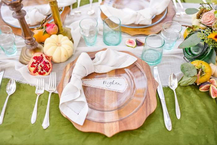 Wood Coaster Table Setting from a Fall Farmhouse Thanksgiving Celebration on Kara's Party Ideas | KarasPartyIdeas.com (26)