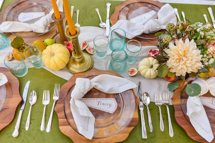 Fall Themed Guest Table + Table Setting from a Fall Farmhouse Thanksgiving Celebration on Kara's Party Ideas | KarasPartyIdeas.com (33)