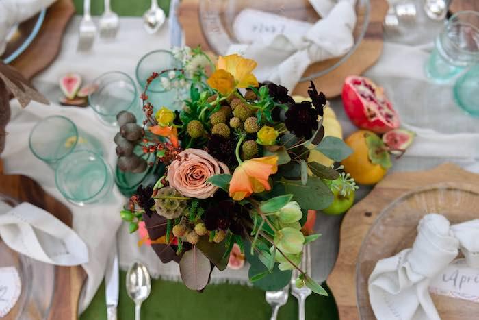 Fall Floral Centerpiece from a Fall Farmhouse Thanksgiving Celebration on Kara's Party Ideas | KarasPartyIdeas.com (30)