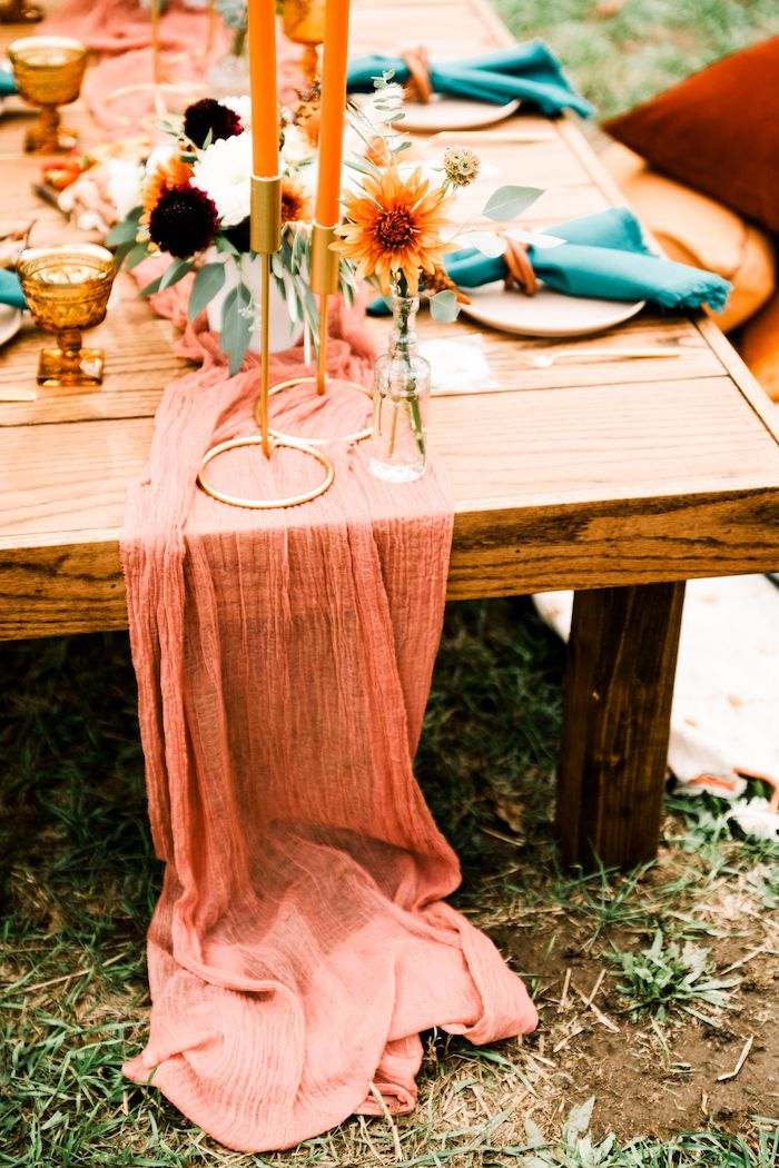 Blush Runner from a Fall Friendsgiving on Kara's Party Ideas | KarasPartyIdeas.com (4)