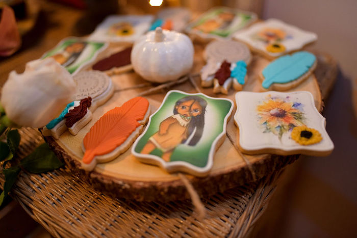 Pocahontas Themed Cookies from a Fall Inspired Pocahontas Birthday Party on Kara's Party Ideas | KarasPartyIdeas.com (11)