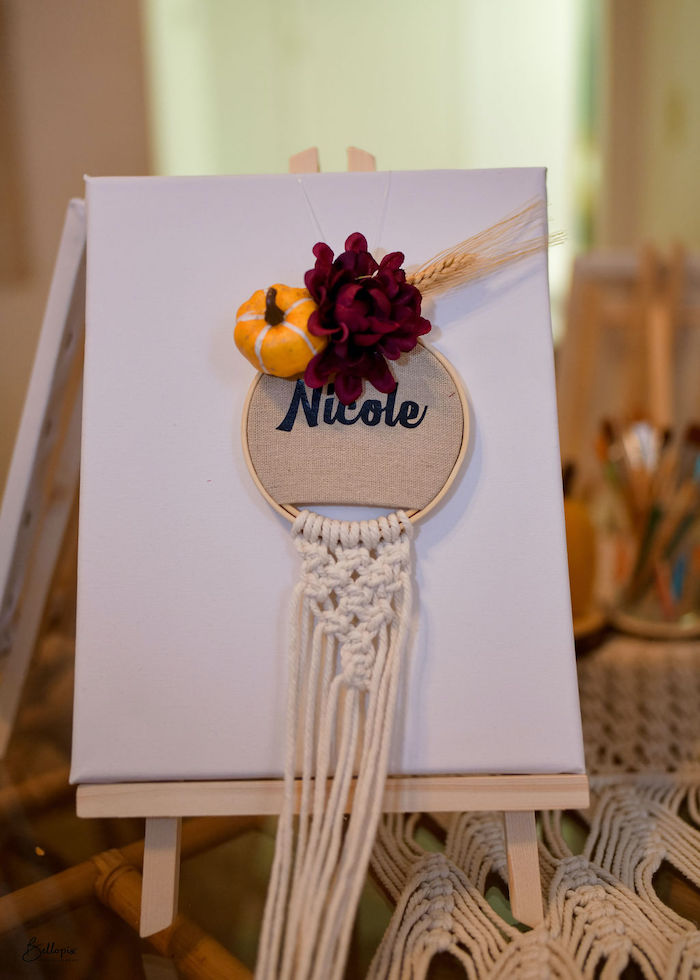 Personalized Paint Canvas Table Setting from a Fall Inspired Pocahontas Birthday Party on Kara's Party Ideas | KarasPartyIdeas.com (7)