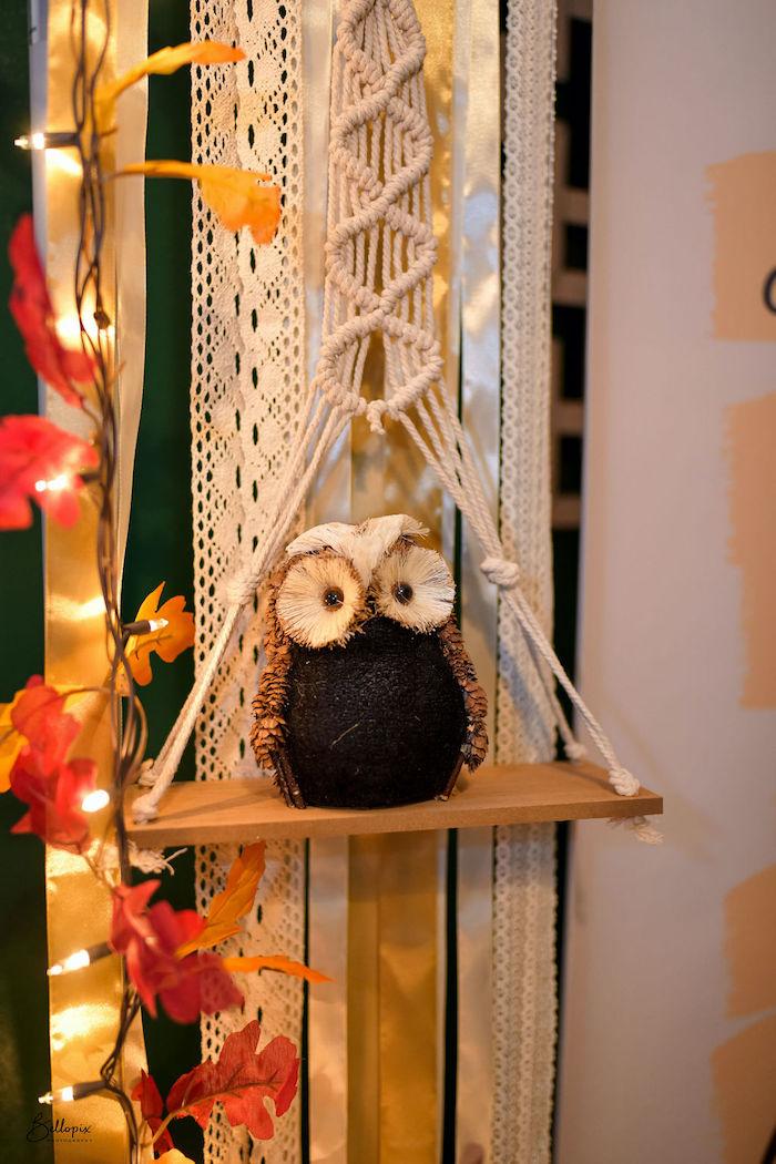 Macrame Owl Perch from a Fall Inspired Pocahontas Birthday Party on Kara's Party Ideas | KarasPartyIdeas.com (3)