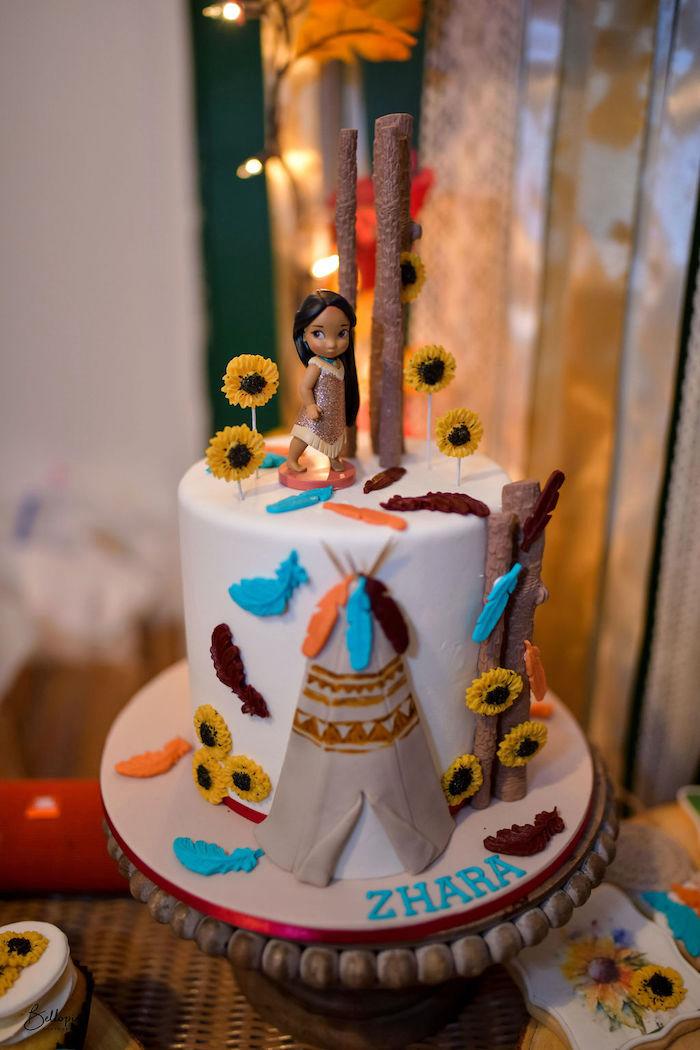 Pocahontas Cake from a Fall Inspired Pocahontas Birthday Party on Kara's Party Ideas | KarasPartyIdeas.com (2)