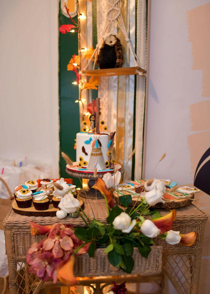 Pocahontas Themed Dessert Table from a Fall Inspired Pocahontas Birthday Party on Kara's Party Ideas | KarasPartyIdeas.com (19)