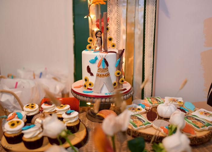 Pocahontas Cake Table from a Fall Inspired Pocahontas Birthday Party on Kara's Party Ideas | KarasPartyIdeas.com (18)