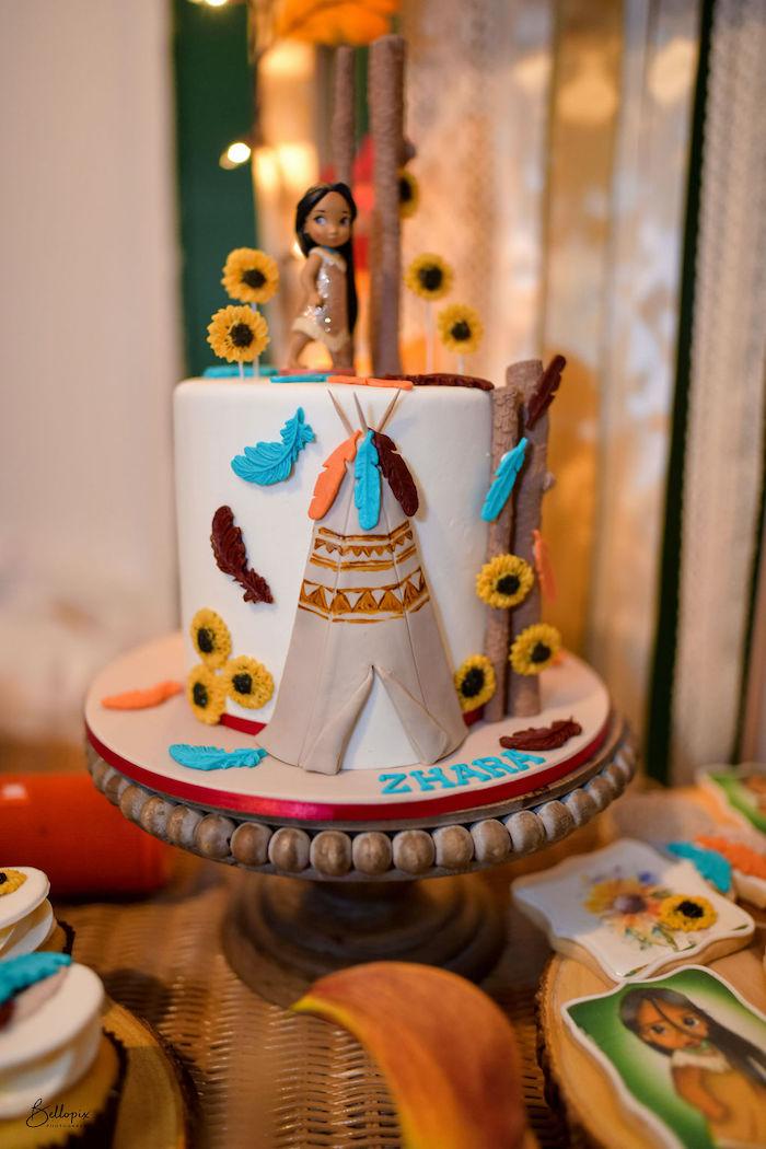 Pocahontas Cake from a Fall Inspired Pocahontas Birthday Party on Kara's Party Ideas | KarasPartyIdeas.com (17)