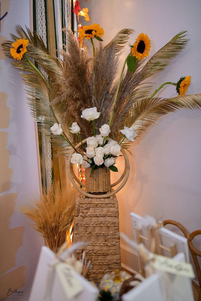 Floral Decor from a Fall Inspired Pocahontas Birthday Party on Kara's Party Ideas | KarasPartyIdeas.com (12)