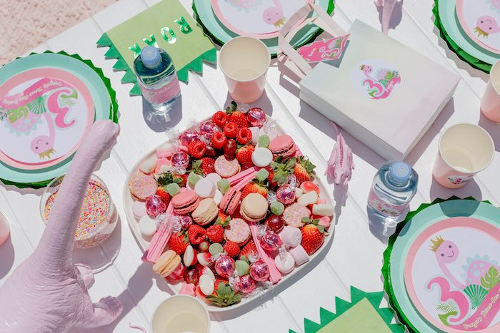 Dessert Charcuterie Platter + Tabletop from a Girly Dino Picnic Party on Kara's Party Ideas | KarasPartyIdeas.com (19)