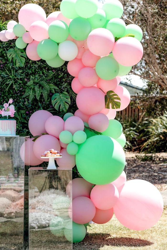 Pedestal Dessert Spread from a Girly Dino Picnic Party on Kara's Party Ideas | KarasPartyIdeas.com (17)