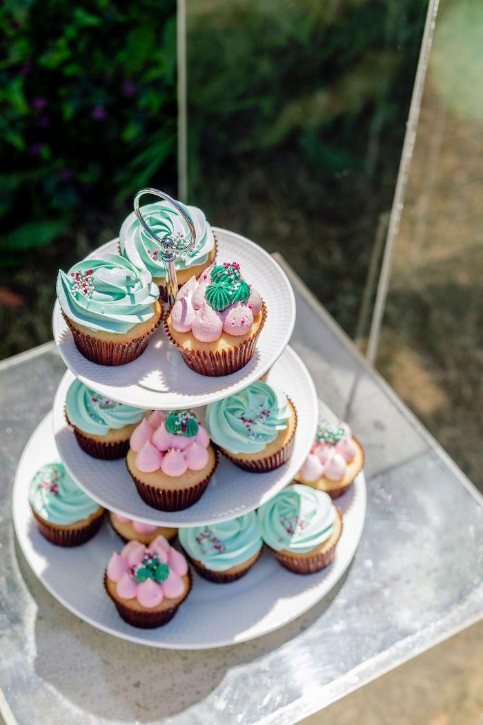 Dino-inspired Cupcakes from a Girly Dino Picnic Party on Kara's Party Ideas | KarasPartyIdeas.com (11)