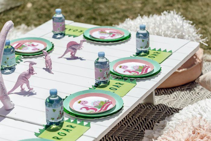 Girly Dino Picnic Party Table on Kara's Party Ideas | KarasPartyIdeas.com (29)