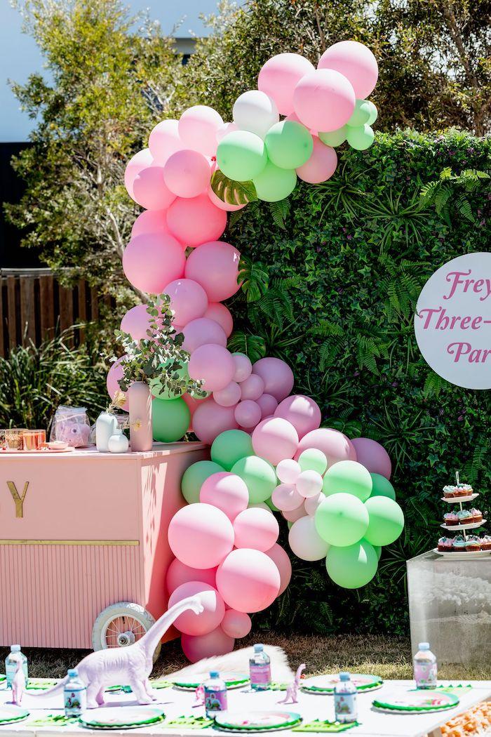 Neon Pink + Green Balloon Garland from a Girly Dino Picnic Party on Kara's Party Ideas | KarasPartyIdeas.com (7)