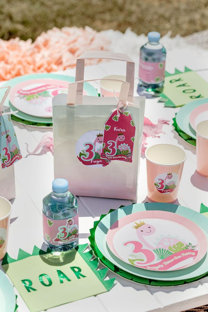 Gift Bag from a Girly Dino Picnic Party on Kara's Party Ideas | KarasPartyIdeas.com (6)