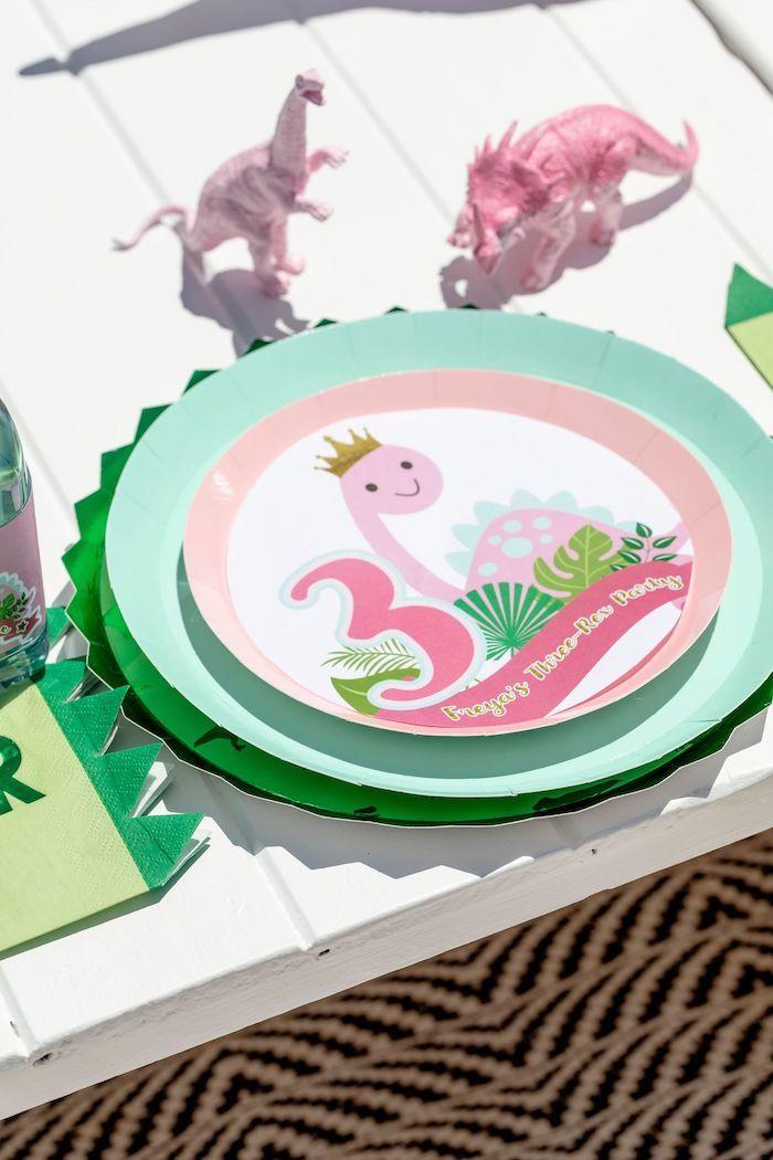 Girly Dino Table Setting from a Girly Dino Picnic Party on Kara's Party Ideas | KarasPartyIdeas.com (27)