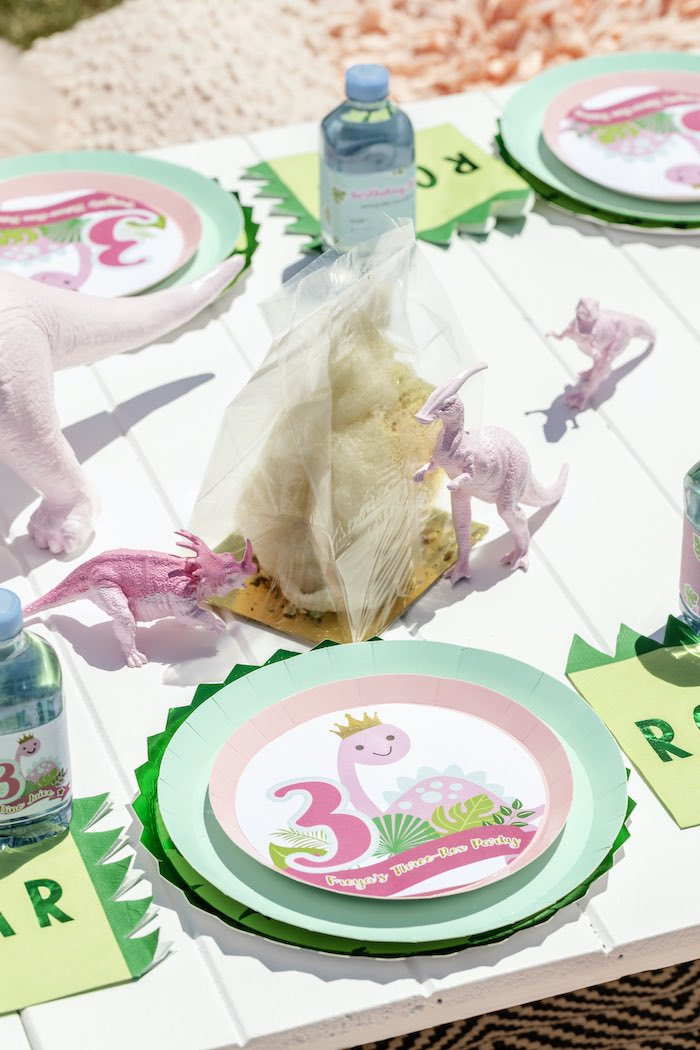 Girly Dino Table Setting from a Girly Dino Picnic Party on Kara's Party Ideas | KarasPartyIdeas.com (24)