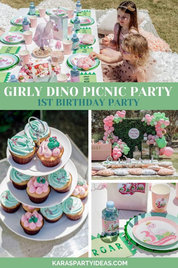 Girly Dino Picnic Party via Kara's Party Ideas - KarasPartyIdeas.com