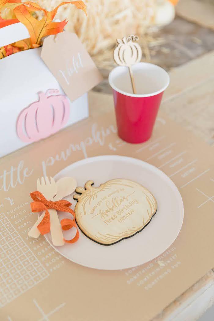 Pumpkin-inspired Kid Table Setting from a Little Pumpkin Birthday Party on Kara's Party Ideas | KarasPartyIdeas.com (36)