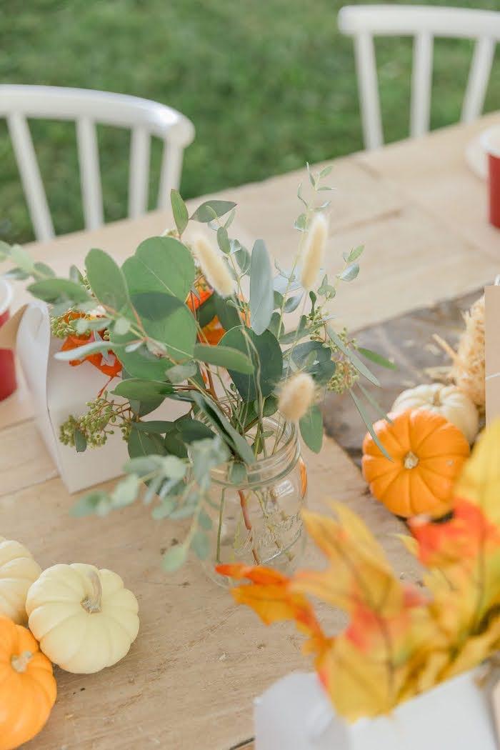 Kid Table Greenery from a Little Pumpkin Birthday Party on Kara's Party Ideas | KarasPartyIdeas.com (34)