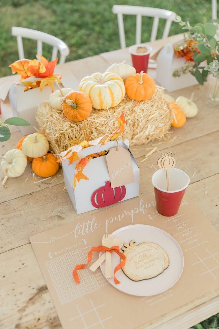 Pumpkin-inspired Kid Table Setting from a Little Pumpkin Birthday Party on Kara's Party Ideas | KarasPartyIdeas.com (33)