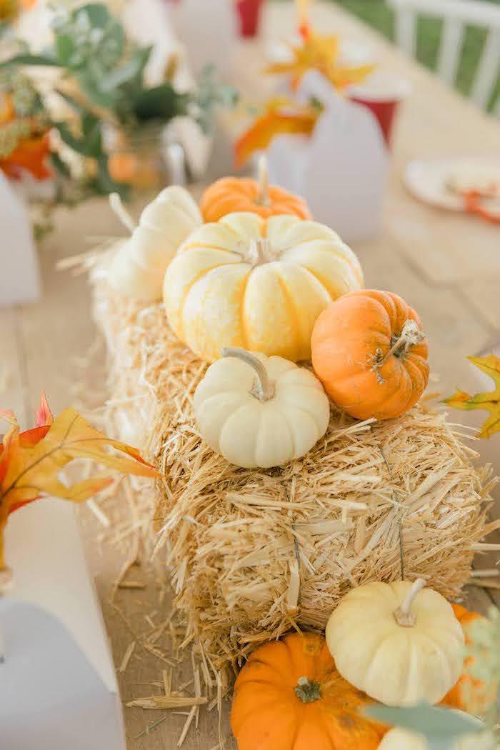 Pumpkin & Straw Bale Centerpiece from a Little Pumpkin Birthday Party on Kara's Party Ideas | KarasPartyIdeas.com (31)