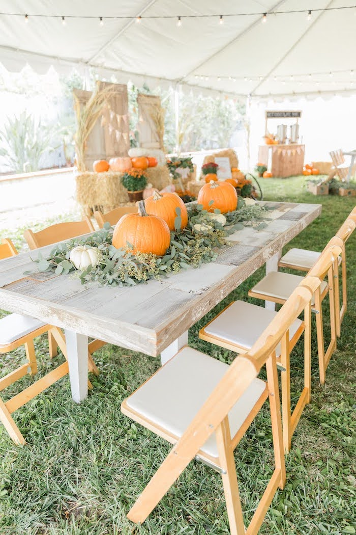 Rustic Chic Pumpkin Themed Guest Table from a Little Pumpkin Birthday Party on Kara's Party Ideas | KarasPartyIdeas.com (29)