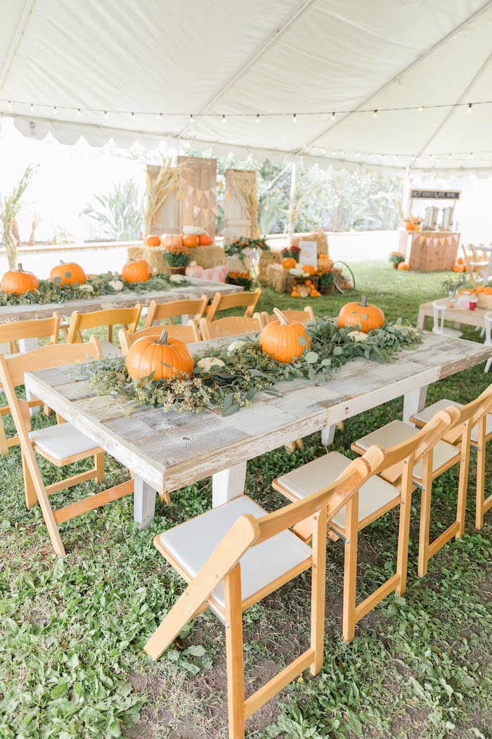 Rustic Chic Pumpkin Themed Guest Tables from a Little Pumpkin Birthday Party on Kara's Party Ideas | KarasPartyIdeas.com (27)