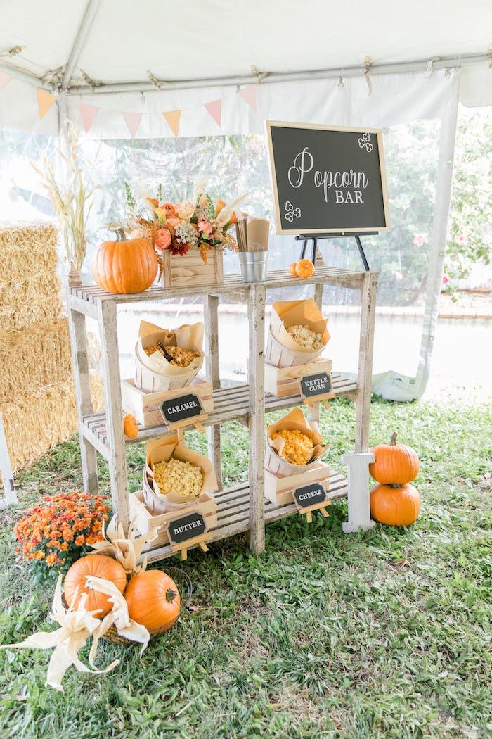 Popcorn Bar from a Little Pumpkin Birthday Party on Kara's Party Ideas | KarasPartyIdeas.com (25)