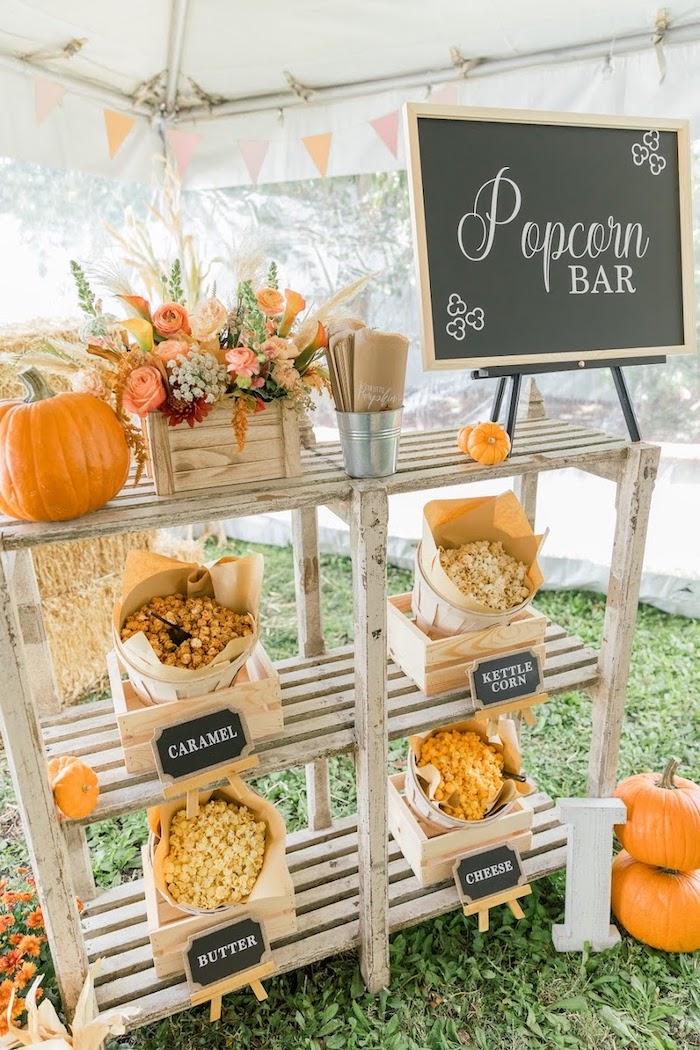 Popcorn Bar from a Little Pumpkin Birthday Party on Kara's Party Ideas | KarasPartyIdeas.com (24)
