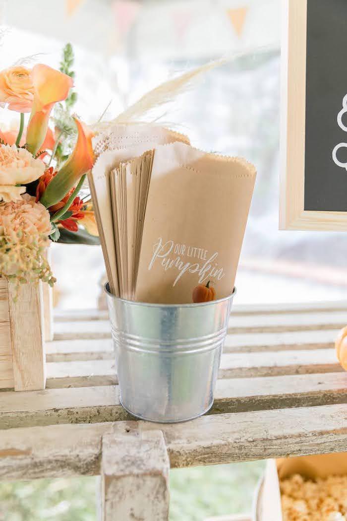 Popcorn Bar Paper Bags from a Little Pumpkin Birthday Party on Kara's Party Ideas | KarasPartyIdeas.com (22)