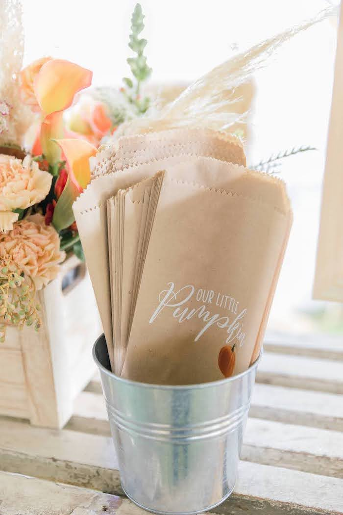 Popcorn Bar Paper Bags from a Little Pumpkin Birthday Party on Kara's Party Ideas | KarasPartyIdeas.com (21)