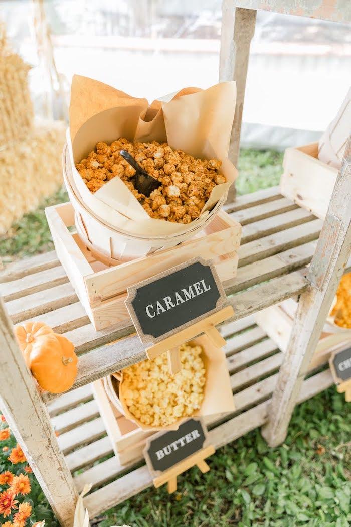 Flavored Popcorn Baskets from a Little Pumpkin Birthday Party on Kara's Party Ideas | KarasPartyIdeas.com (20)