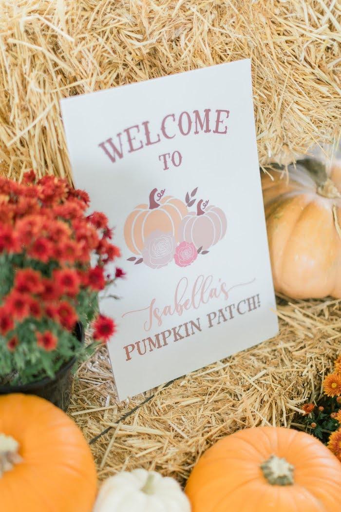 Pumpkin Welcome Sign from a Little Pumpkin Birthday Party on Kara's Party Ideas | KarasPartyIdeas.com (44)